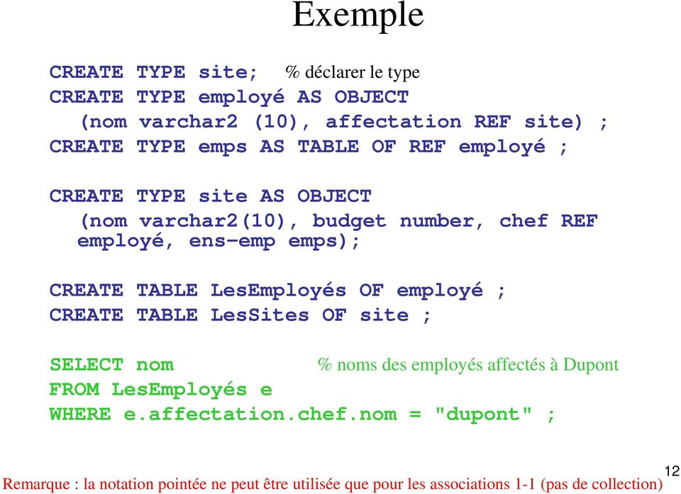 LesEmployés OF employé ; CREATE TABLE LesSites OF site ; SELECT nom FROM LesEmployés e WHERE e.affectation.chef.