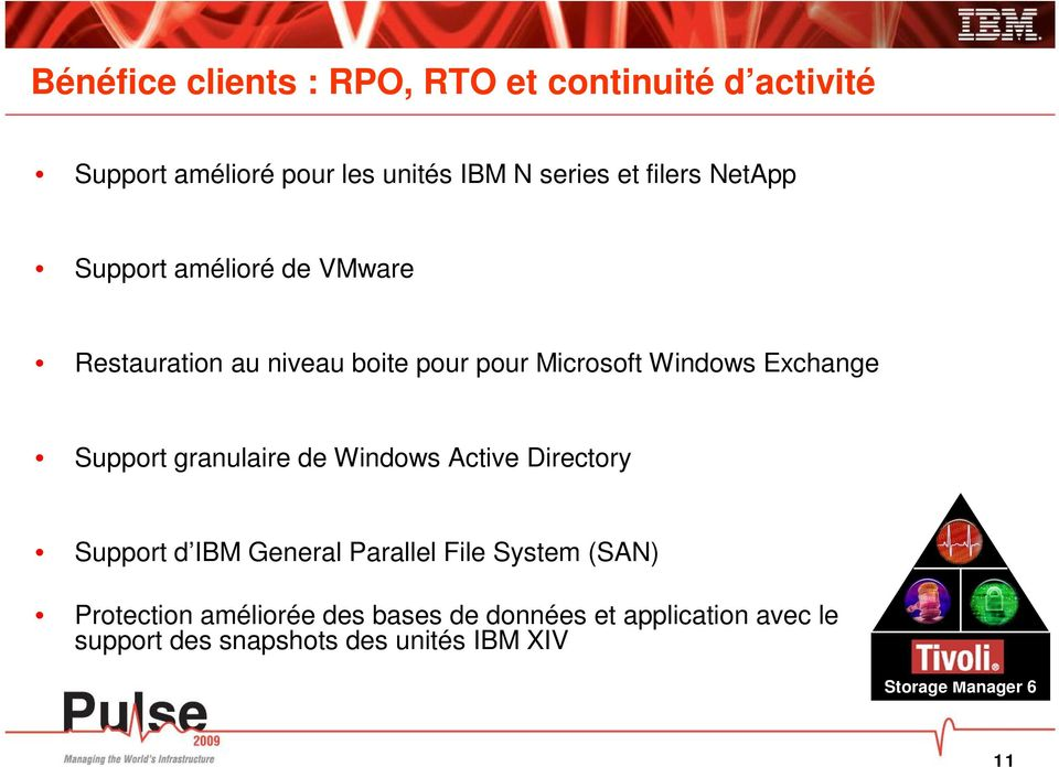 Exchange Support granulaire de Windows Active Directory Support d IBM General Parallel File System