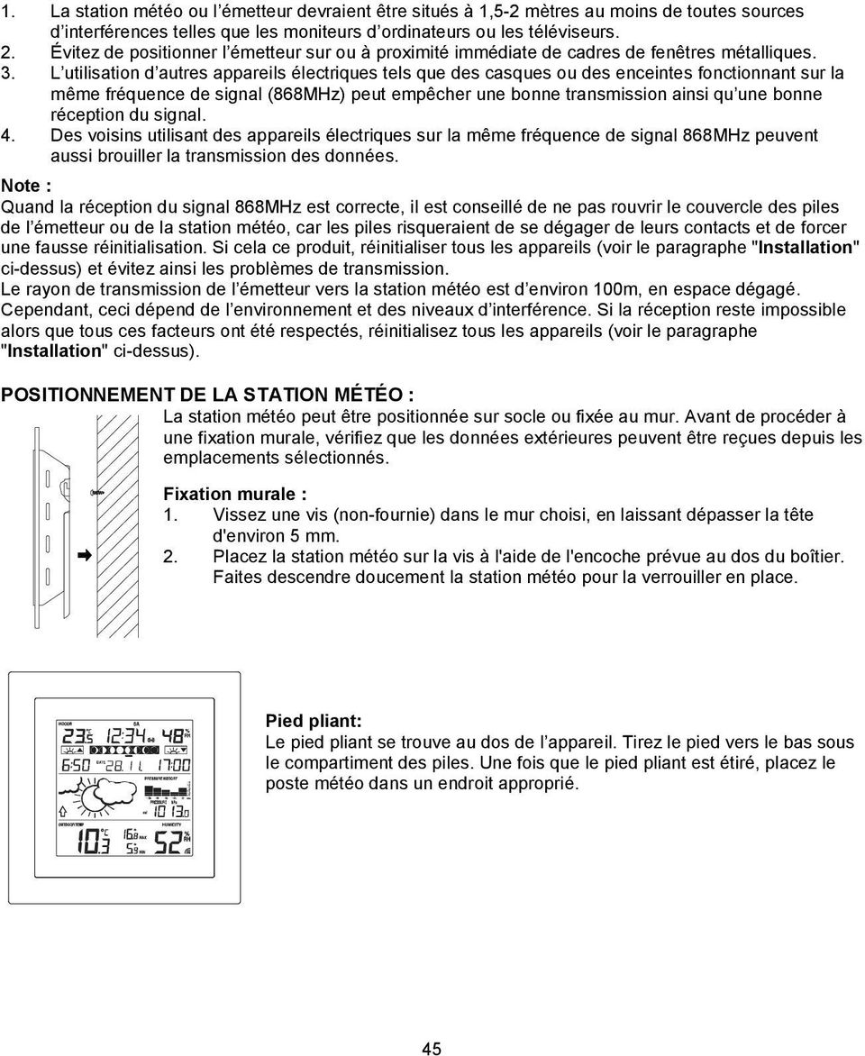 Station m t o sans fil 868 mhz mode d 39 emploi cat no it pdf - Peut on couper des branches du voisin ...