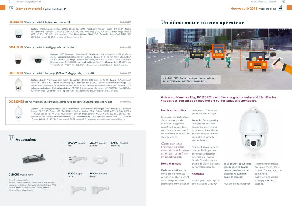 6, AGC On) - Gestion image : Digital WDR, 3D DNR, BLC, HCL, positionnement 3D - Alimentation : 24VAC, PoE - Garantie : 3 ans - Spécificité : SD/ SDHC slot, jusqu à 32 GB, livré avec kit d