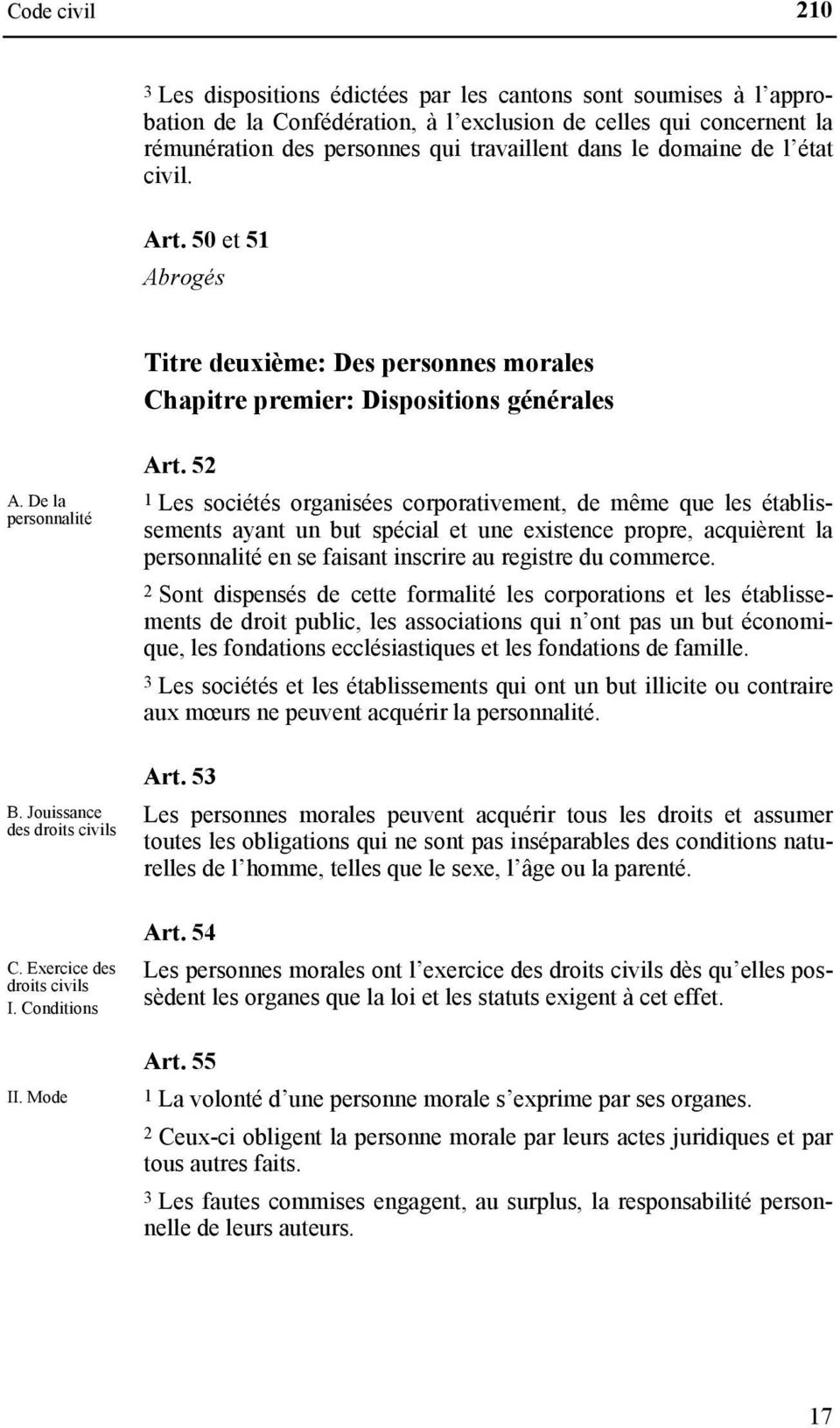 Exercice des droits civils I. Conditions II. Mode Art.