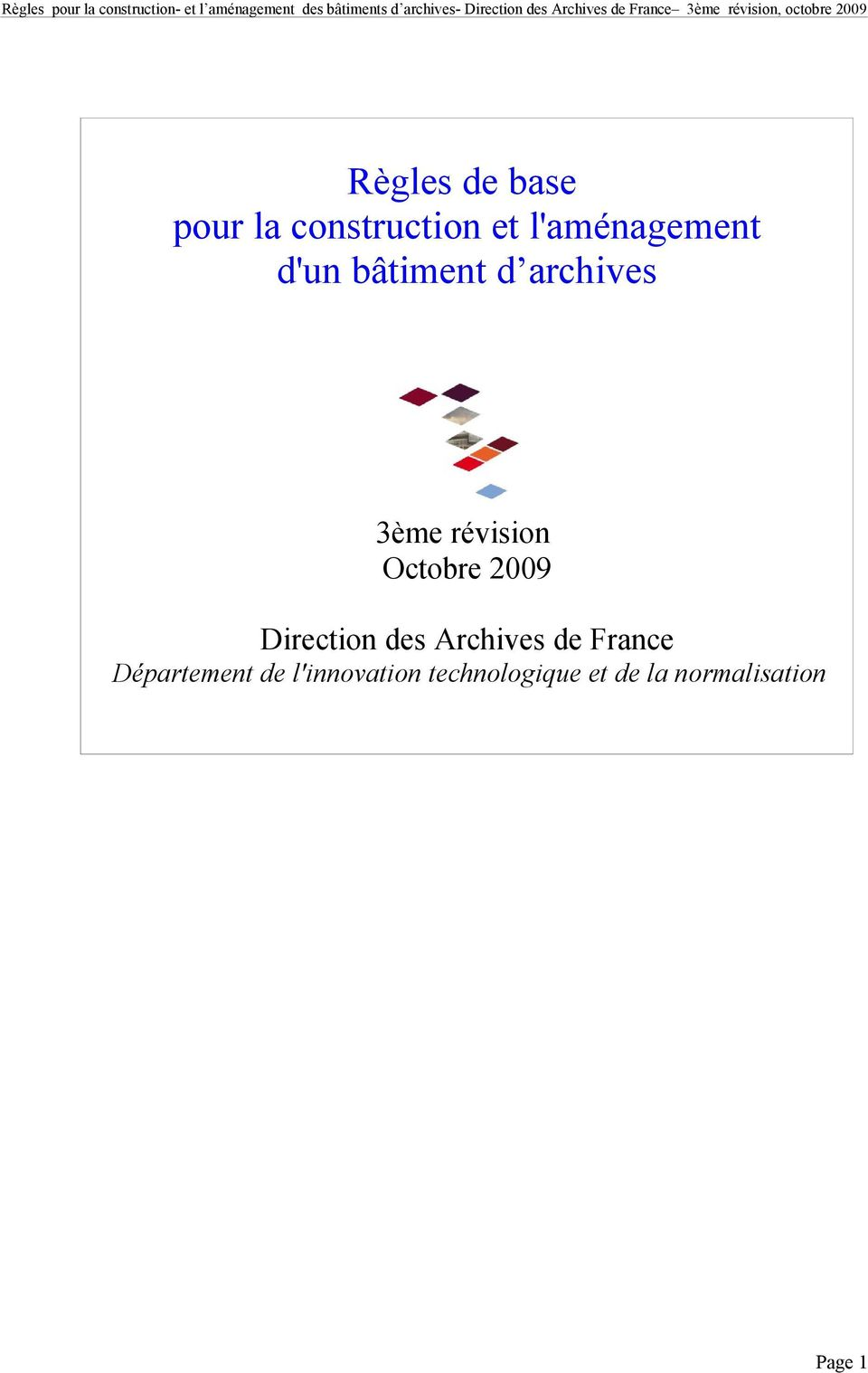 Direction des Archives de France Département de