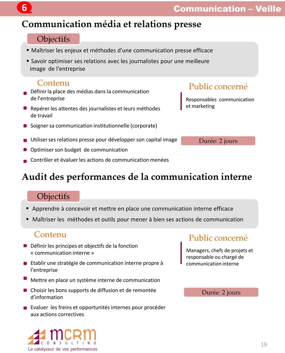 institutionnelle (corporate) Utiliser ses relations presse pour développer son capital image Optimiser son budget de communication Contrôler et évaluer les actions de communication menées