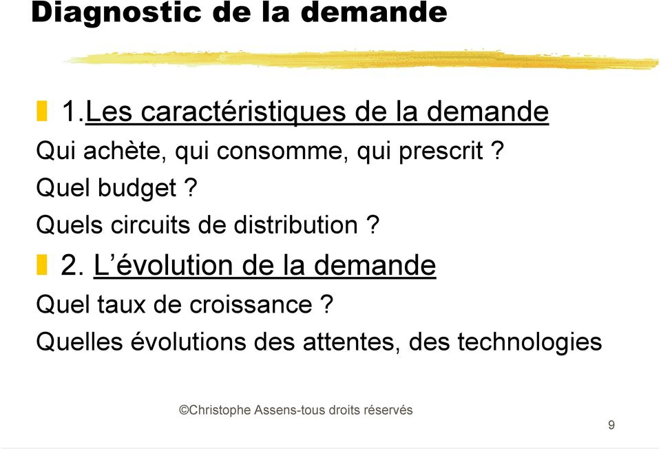 qui prescrit? Quel budget? Quels circuits de distribution? 2.