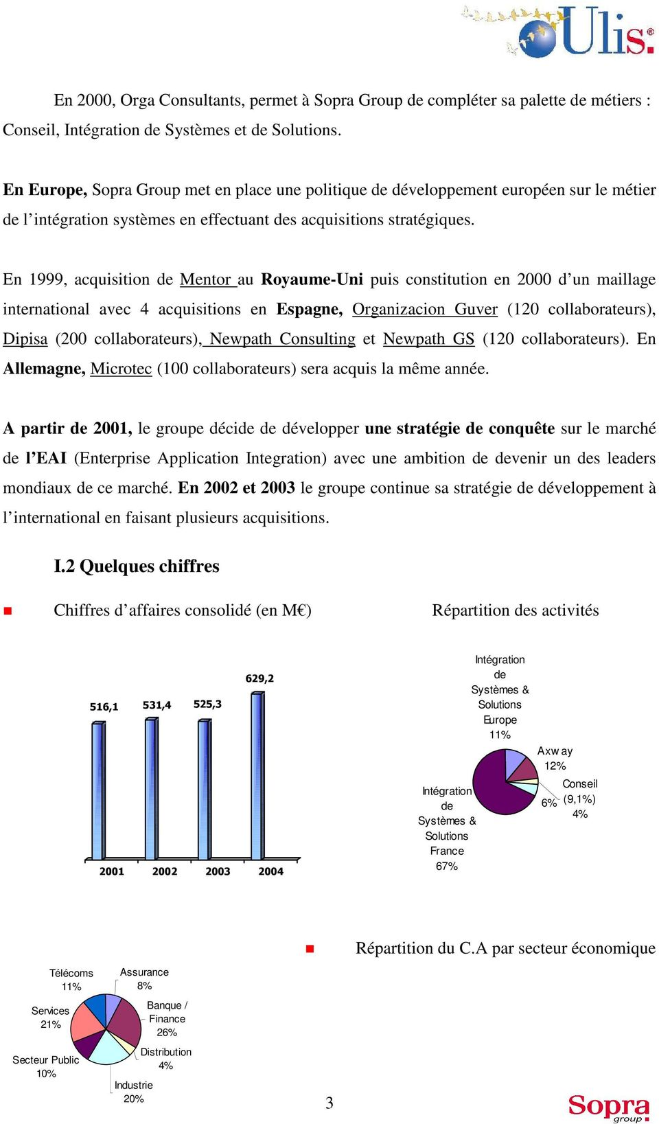 En 1999, acquisition de Mentor au Royaume-Uni puis constitution en 2000 d un maillage international avec 4 acquisitions en Espagne, Organizacion Guver (120 collaborateurs), Dipisa (200