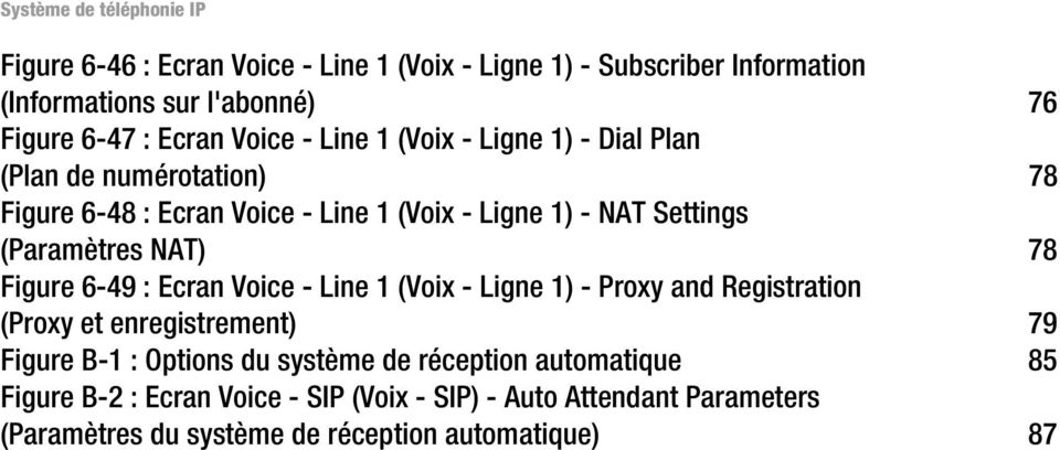 Figure 6-49 : Ecran Voice - Line 1 (Voix - Ligne 1) - Proxy and Registration (Proxy et enregistrement) 79 Figure B-1 : Options du système de