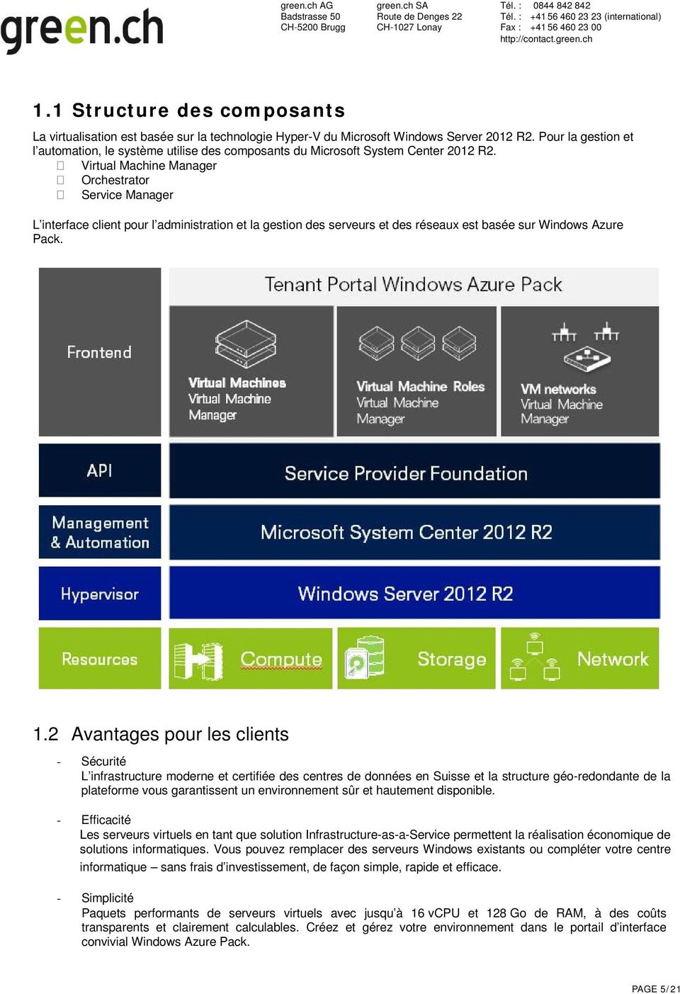 Virtual Machine Manager Orchestrator Service Manager L interface client pour l administration et la gestion des serveurs et des réseaux est basée sur Windows Azure Pack. 1.