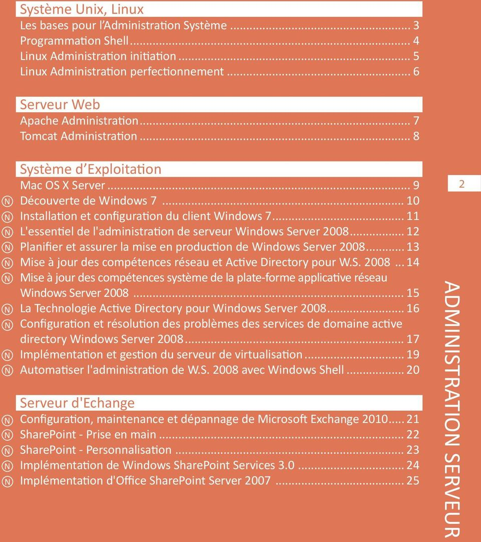 .. 11 L'essentiel de l'administration de serveur Windows Server 2008... 12 Planifier et assurer la mise en production de Windows Server 2008.
