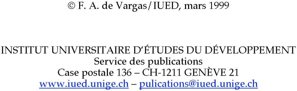 Service des publications Case postale 136