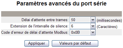 63230-319-216B2 Passerelle Ethernet PowerLogic TM EGX300 11/2011 Configuration Tableau 5 : Paramètres de port série Option Description Valeur Interface physique Mode de transmission Vitesse de