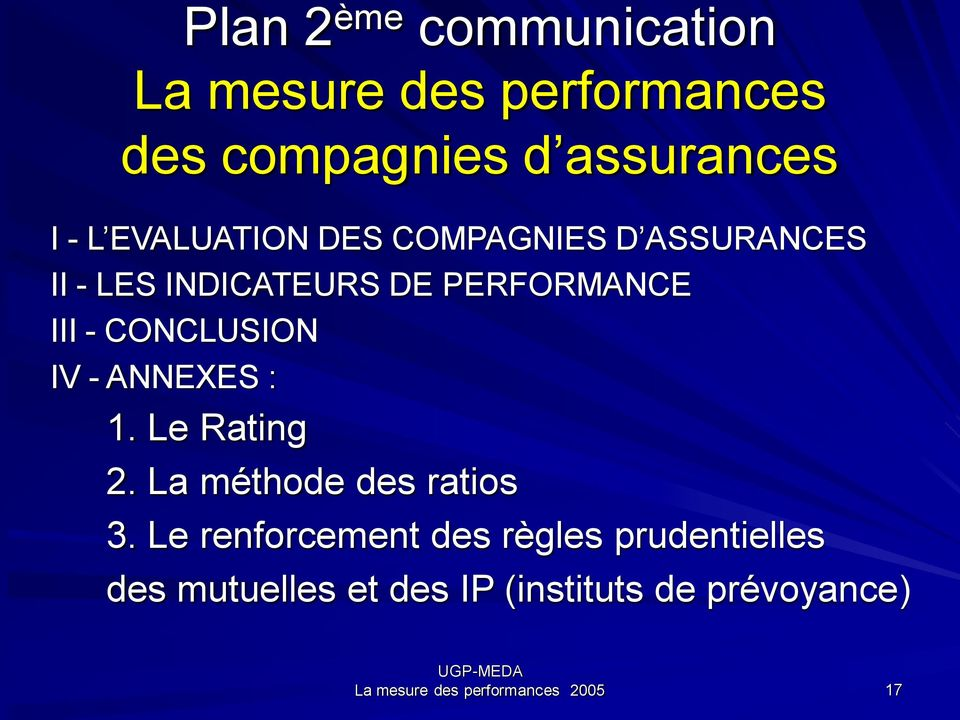 CONCLUSION IV - ANNEXES : 1. Le Rating 2. La méthode des ratios 3.