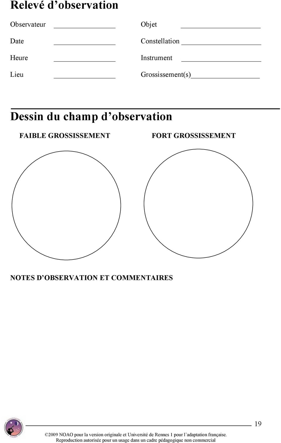 Grossissement(s) Dessin du champ d observation