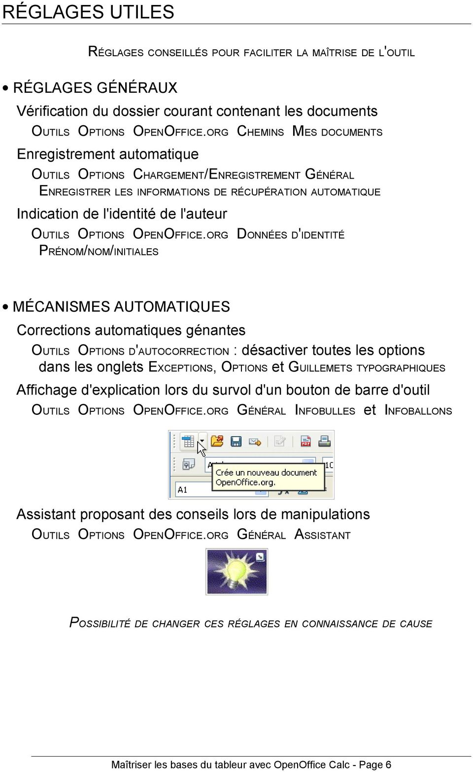 OUTILS OPTIONS OPENOFFICE.