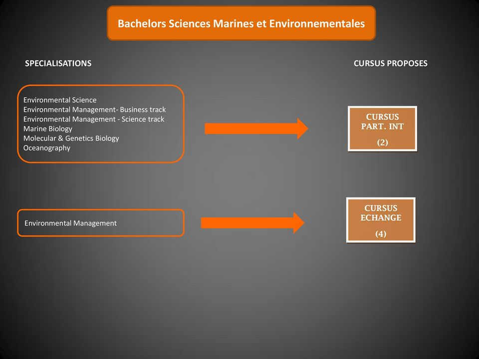 track Environmental Management - Science track Marine Biology