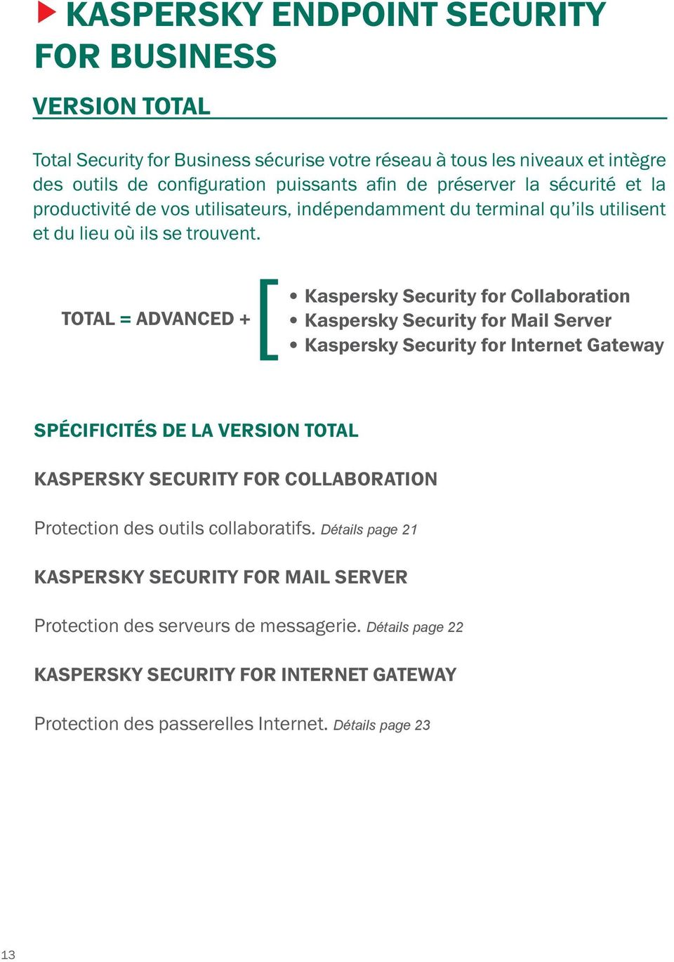 [ Kaspersky Security for Collaboration TOTAL = ADVANCED + Kaspersky Security for Mail Server Kaspersky Security for Internet Gateway SPÉCIFICITÉS DE LA VERSION TOTAL KASPERSKY SECURITY FOR
