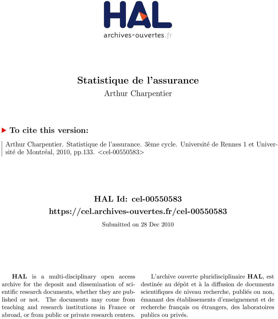fr/cel-00550583 Submitted on 28 Dec 2010 HAL is a multi-disciplinary open access archive for the deposit and dissemination of scientific research documents, whether they are published or not.