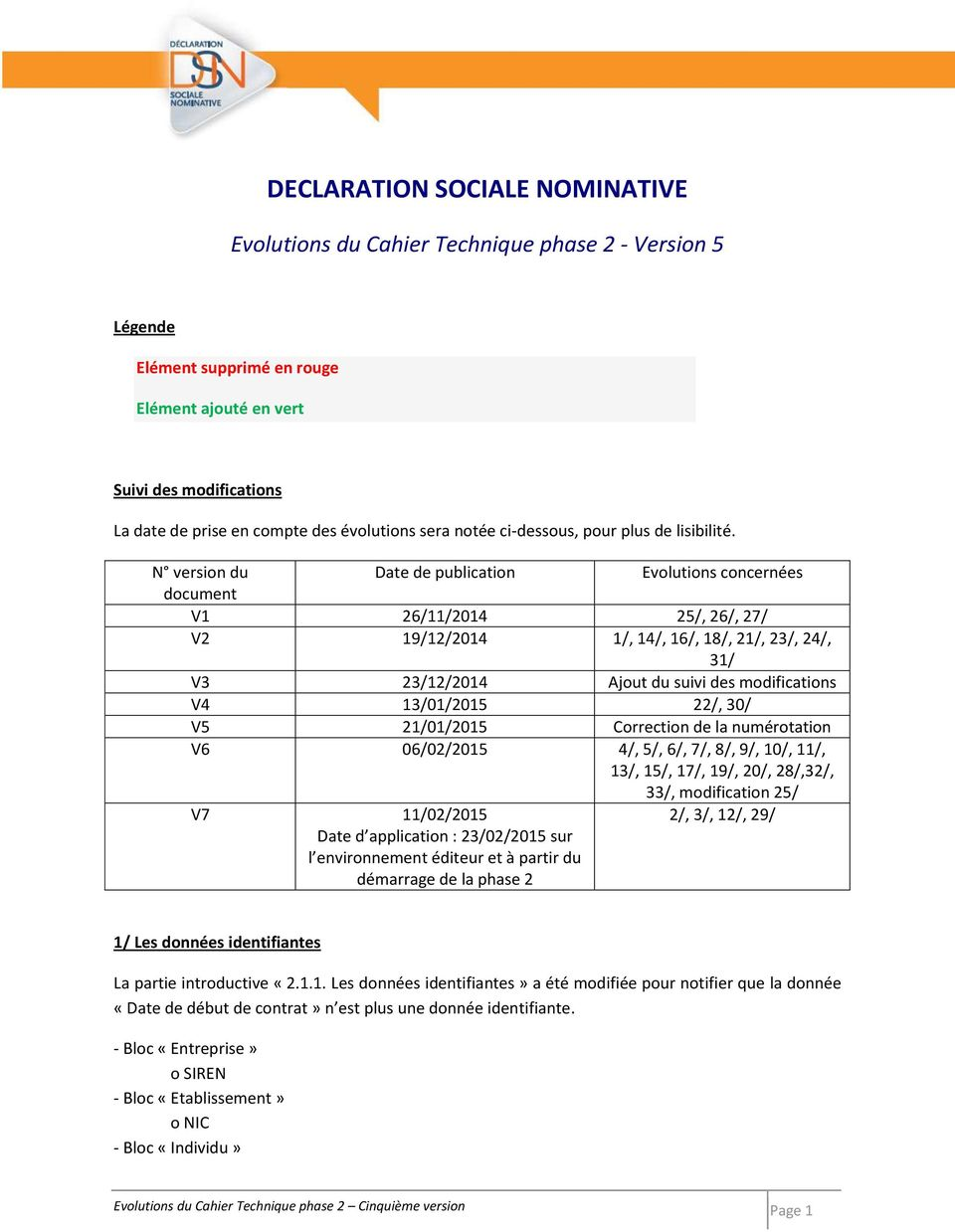 N version du Date de publication Evolutions concernées document V1 26/11/2014 25/, 26/, 27/ V2 19/12/2014 1/, 14/, 16/, 18/, 21/, 23/, 24/, 31/ V3 23/12/2014 Ajout du suivi des modifications V4