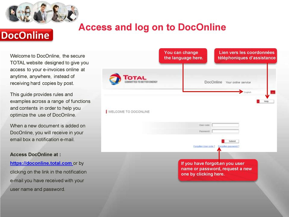 When a new document is added on DocOnline, you will receive in your email box a notification e-mail. You can change the language here.
