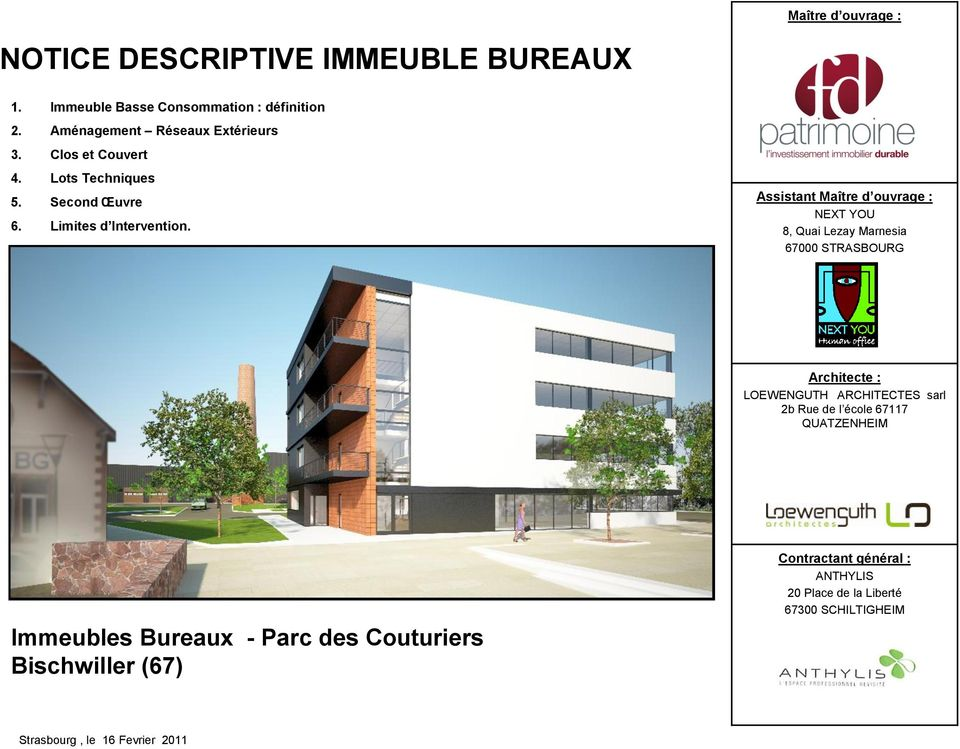 Notice descriptive immeuble bureaux pdf for Architecte contractant general