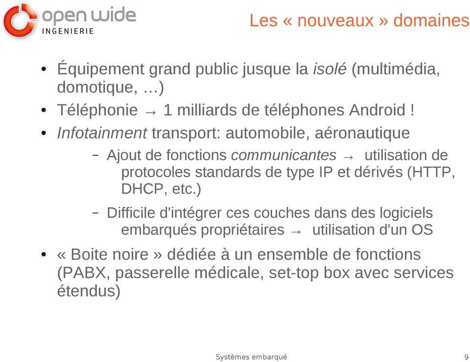 Infotainment transport: automobile, aéronautique Ajout de fonctions communicantes utilisation de protocoles standards de type