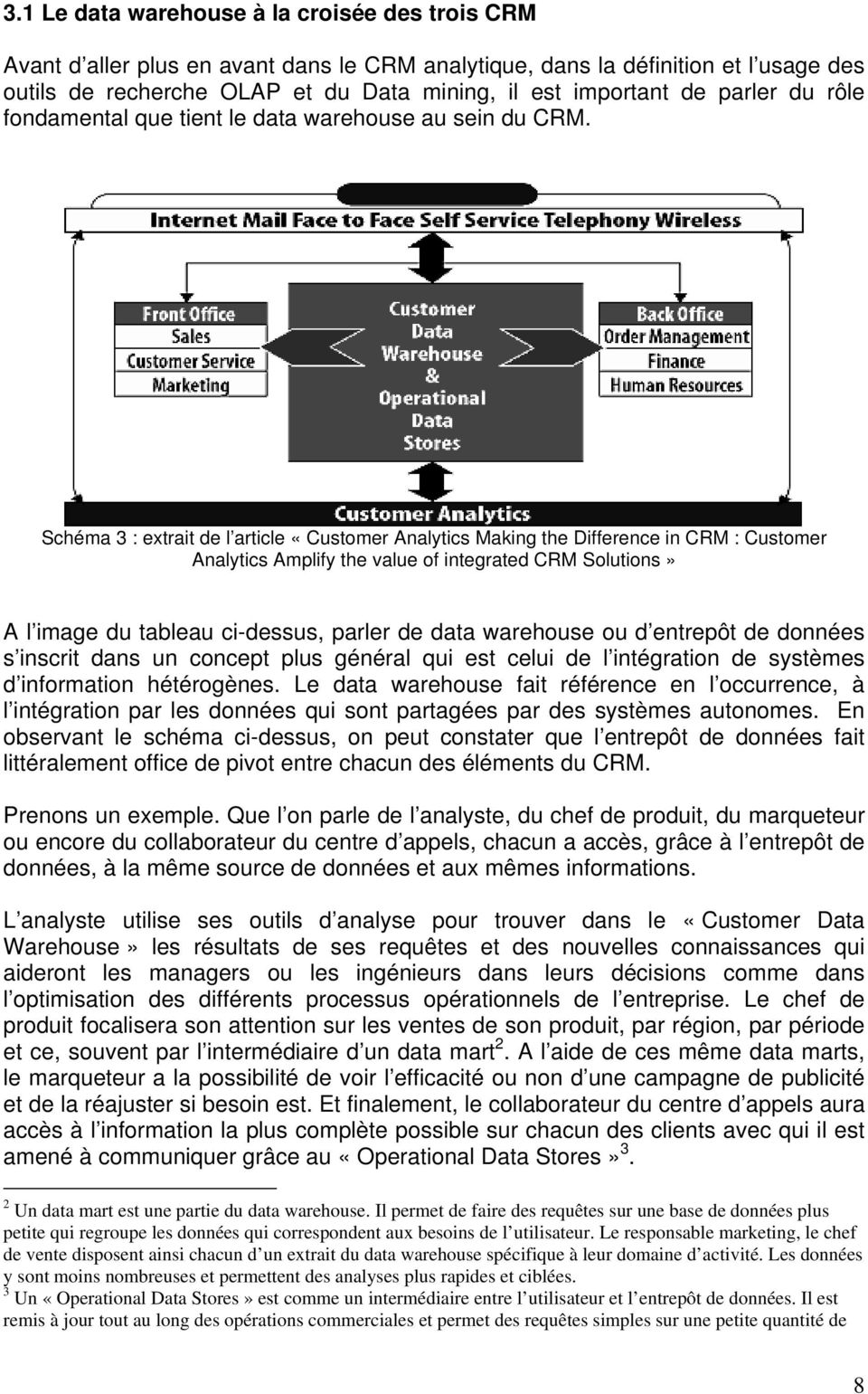 Schéma 3 : extrait de l article «Customer Analytics Making the Difference in CRM : Customer Analytics Amplify the value of integrated CRM Solutions» A l image du tableau ci-dessus, parler de data