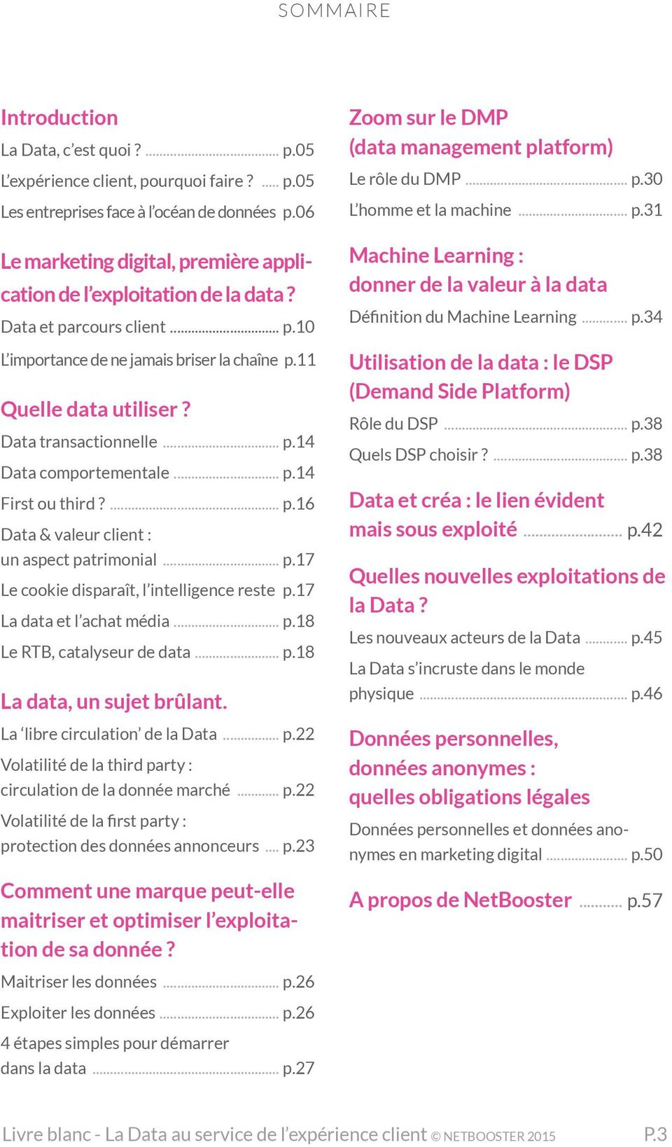 .. p.17 Le cookie disparaît, l intelligence reste. p.17 La data et l achat média... p.18 Le RTB, catalyseur de data... p.18 La data, un sujet brûlant. La libre circulation de la Data... p.22 Volatilité de la third party : circulation de la donnée marché.