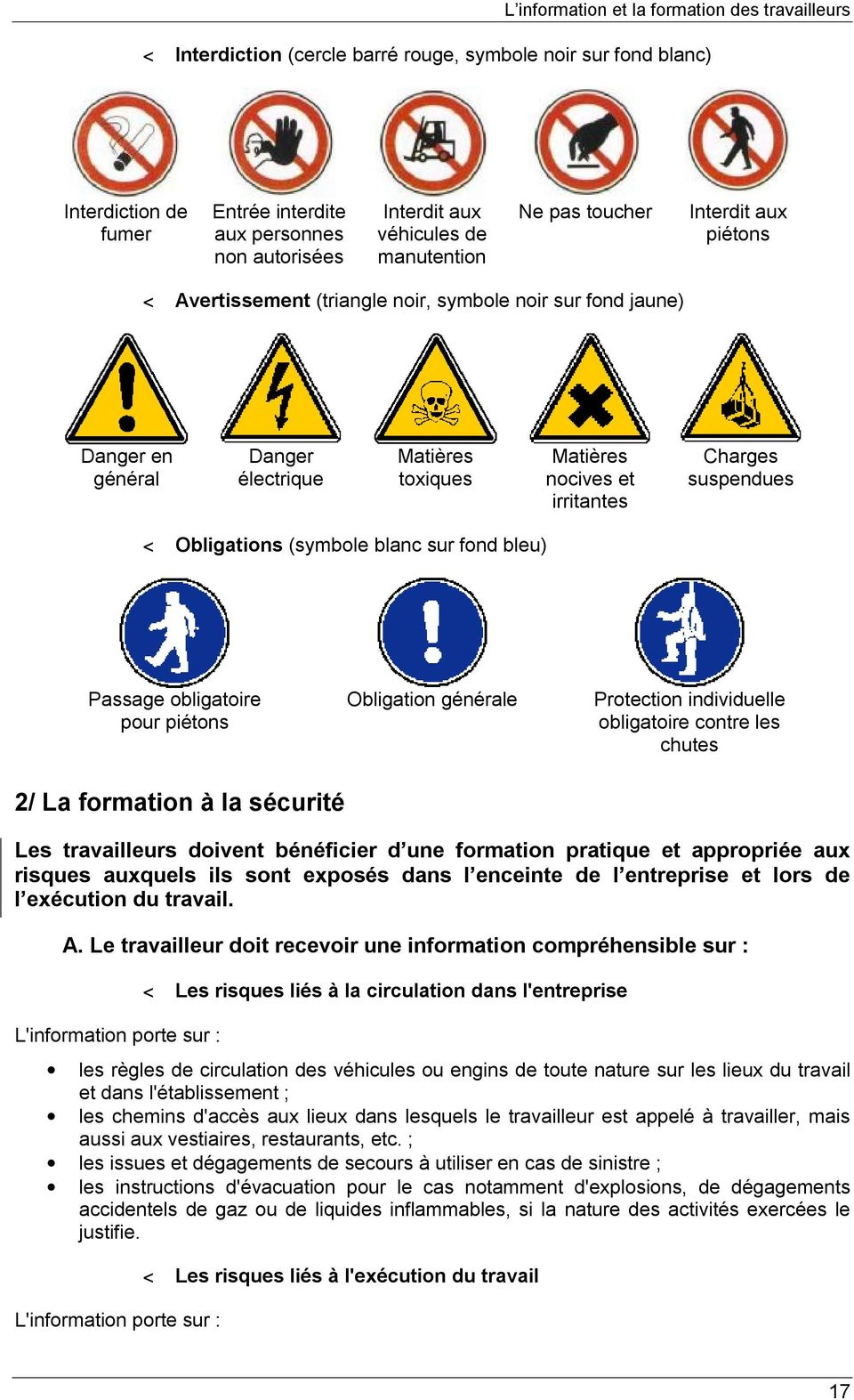 irritantes Charges suspendues < Obligations (symbole blanc sur fond bleu) Passage obligatoire pour piétons 2/ La formation à la sécurité Obligation générale Protection individuelle obligatoire contre