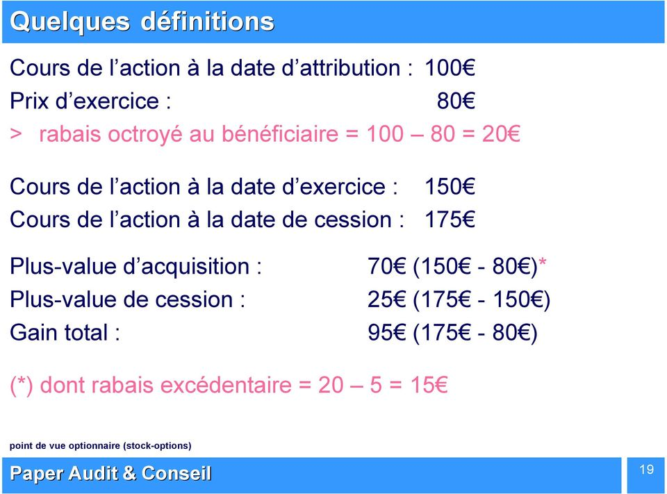 Taxation des plus values stock options