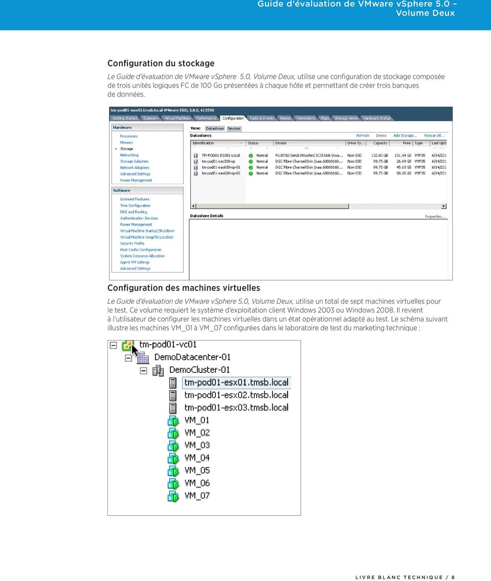Configuration des machines virtuelles Le Guide d évaluation de VMware vsphere 5.0,, utilise un total de sept machines virtuelles pour le test.