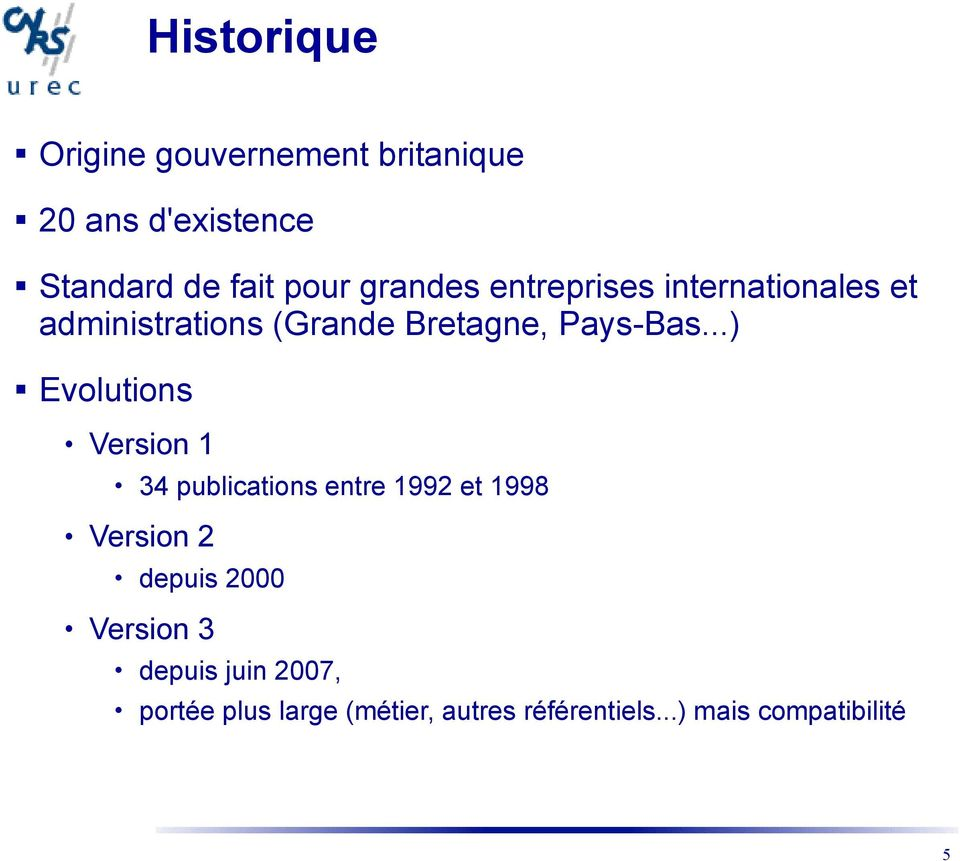 ..) Evolutions Version 1 34 publications entre 1992 et 1998 Version 2 depuis 2000