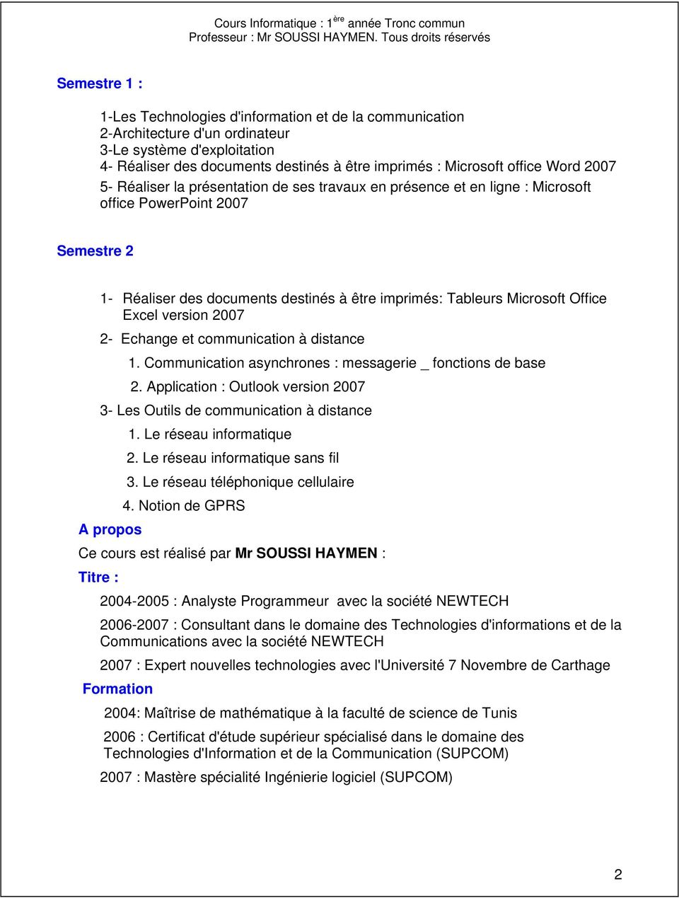 Office Excel version 2007 2- Echange et communication à distance 1. Communication asynchrones : messagerie _ fonctions de base 2.