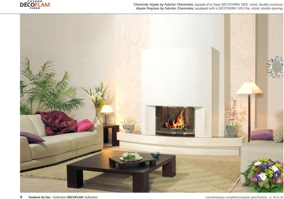 Alysée fireplace by Fabrilor Cheminées, equipped with a DÉCOTHERM 1855 fire,