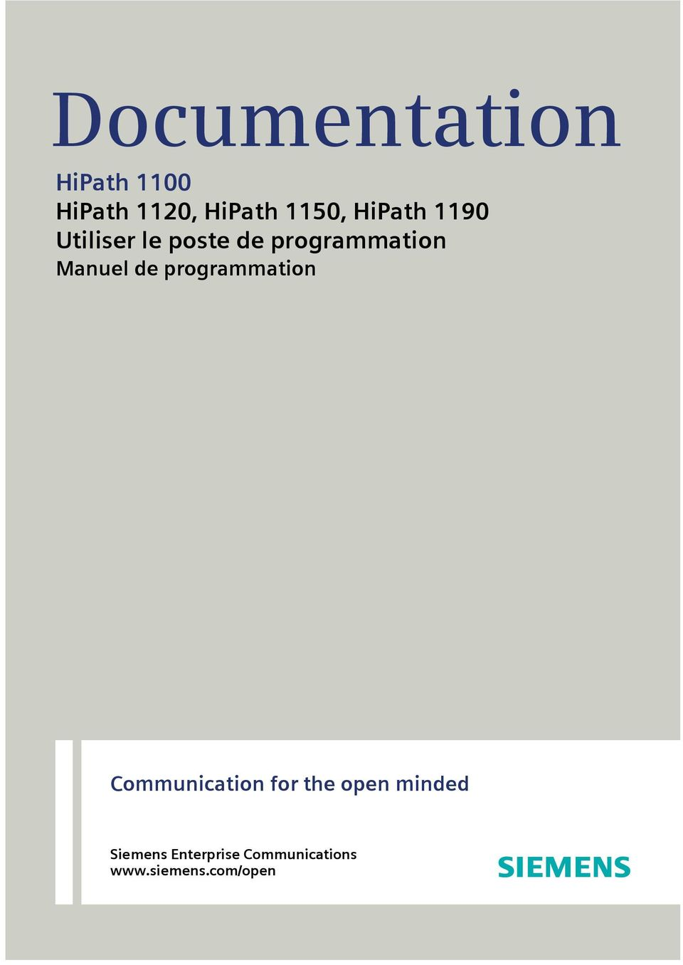Manuel de programmation Communication for the open