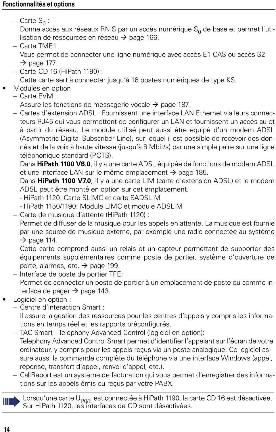Modules en option Carte EVM : Assure les fonctions de messagerie vocale page 187.