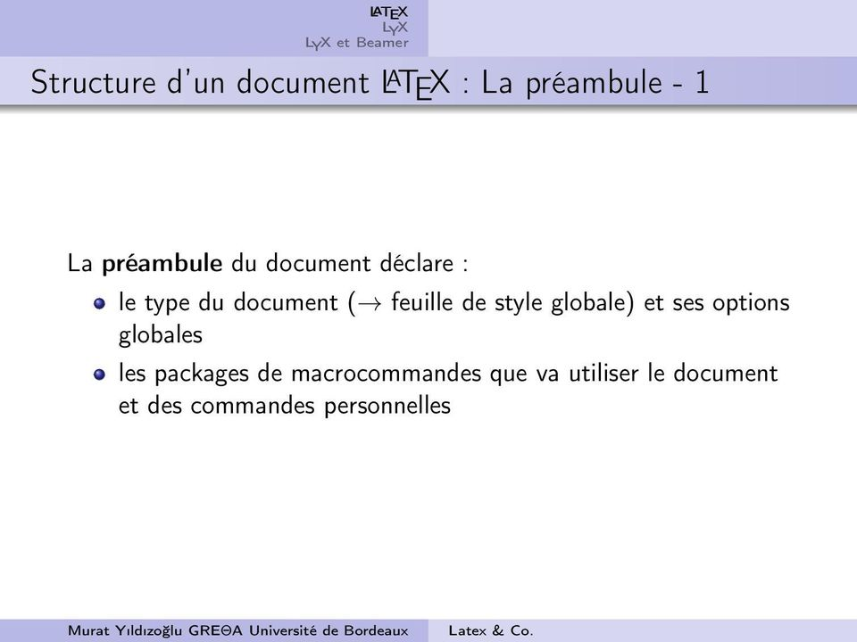 de style globale) et ses options globales les packages de