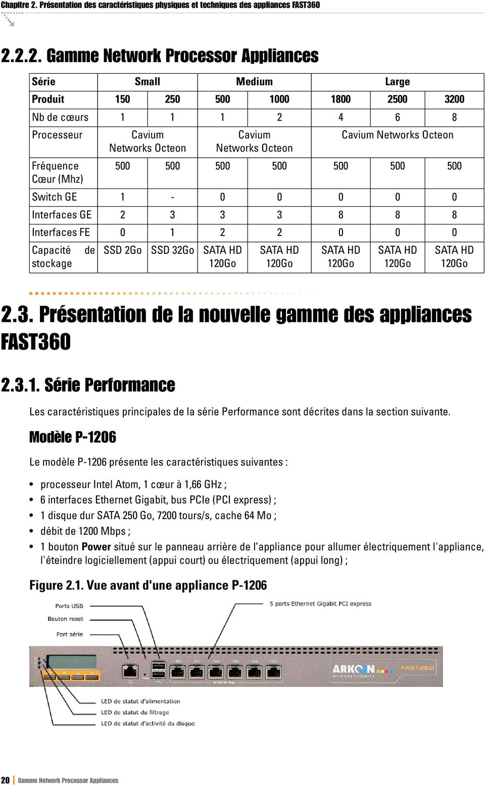 2.2. Gamme Network Processor Appliances Série Small Produit Large 150 250 500 1000 1800 2500 3200 1 1 1 2 4 6 8 Nb de cœurs Processeur Medium Cavium Networks Octeon Cavium Networks Octeon Cavium