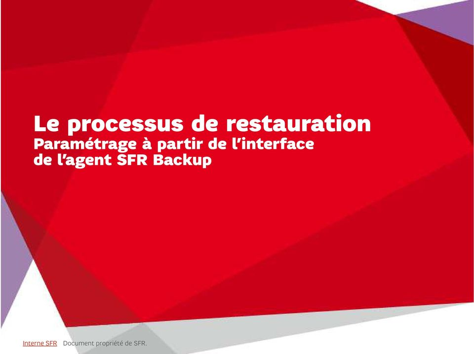 interface de l agent SFR Backup