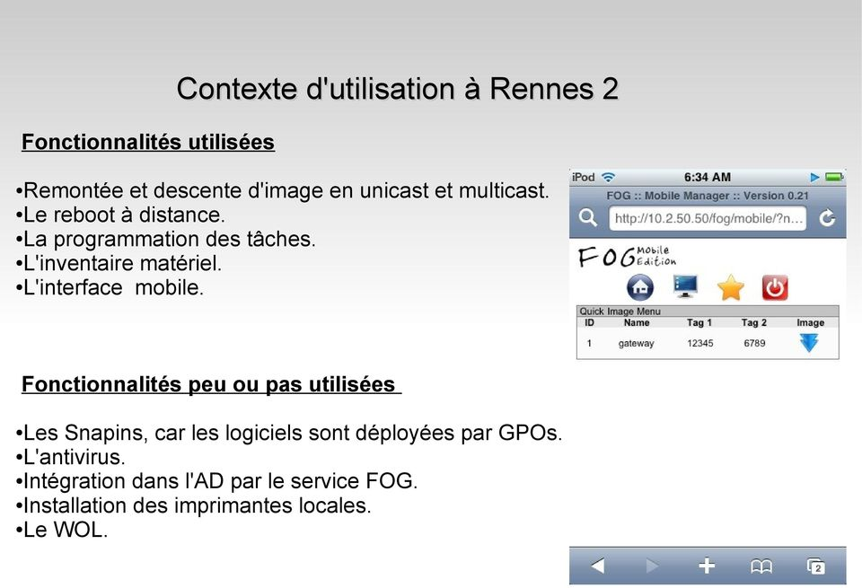 L'interface mobile.