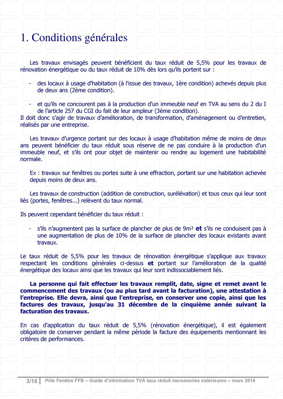 Guide d information pour l application des diff rents for Taux de tva travaux de renovation