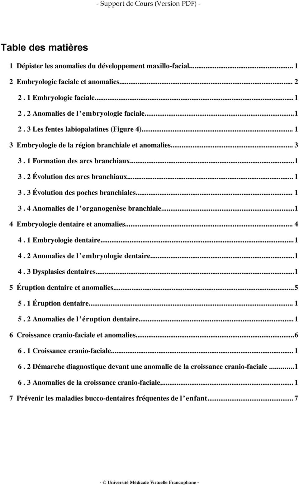 ..1 4 Embryologie dentaire et anomalies... 4 4. 1 Embryologie dentaire...1 4. 2 Anomalies de l embryologie dentaire...1 4. 3 Dysplasies dentaires...1 5 Éruption dentaire et anomalies...5 5.