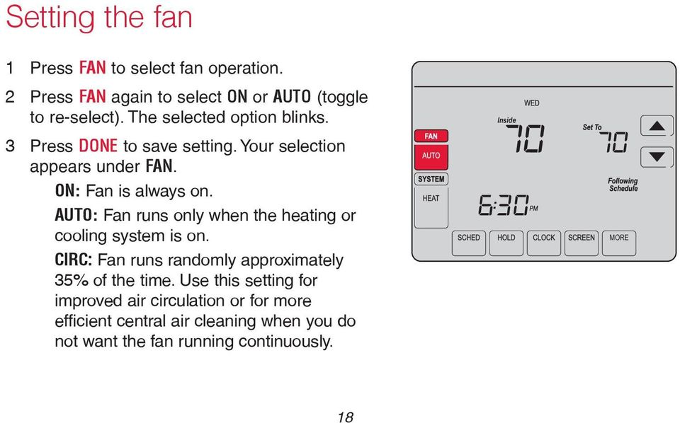 AUTO: Fan runs only when the heating or cooling system is on. CIRC: Fan runs randomly approximately 35% of the time.