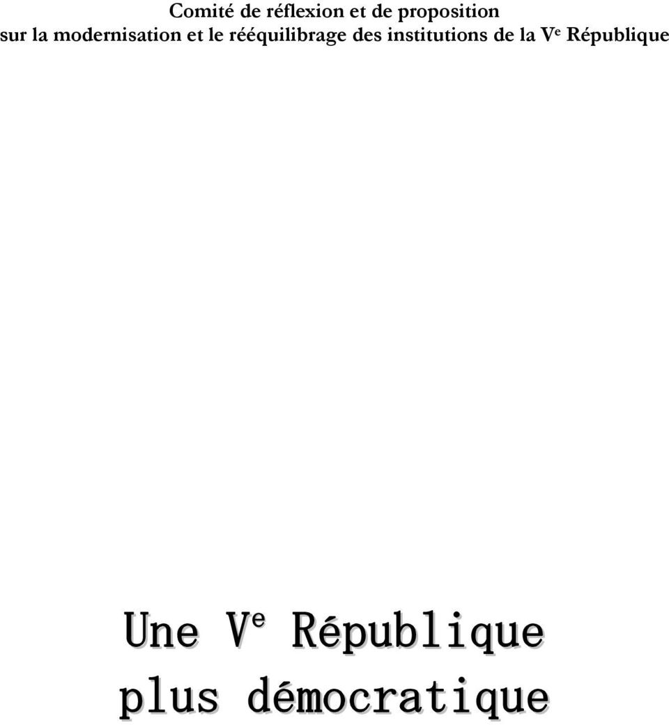 rééquilibrage des institutions de la V