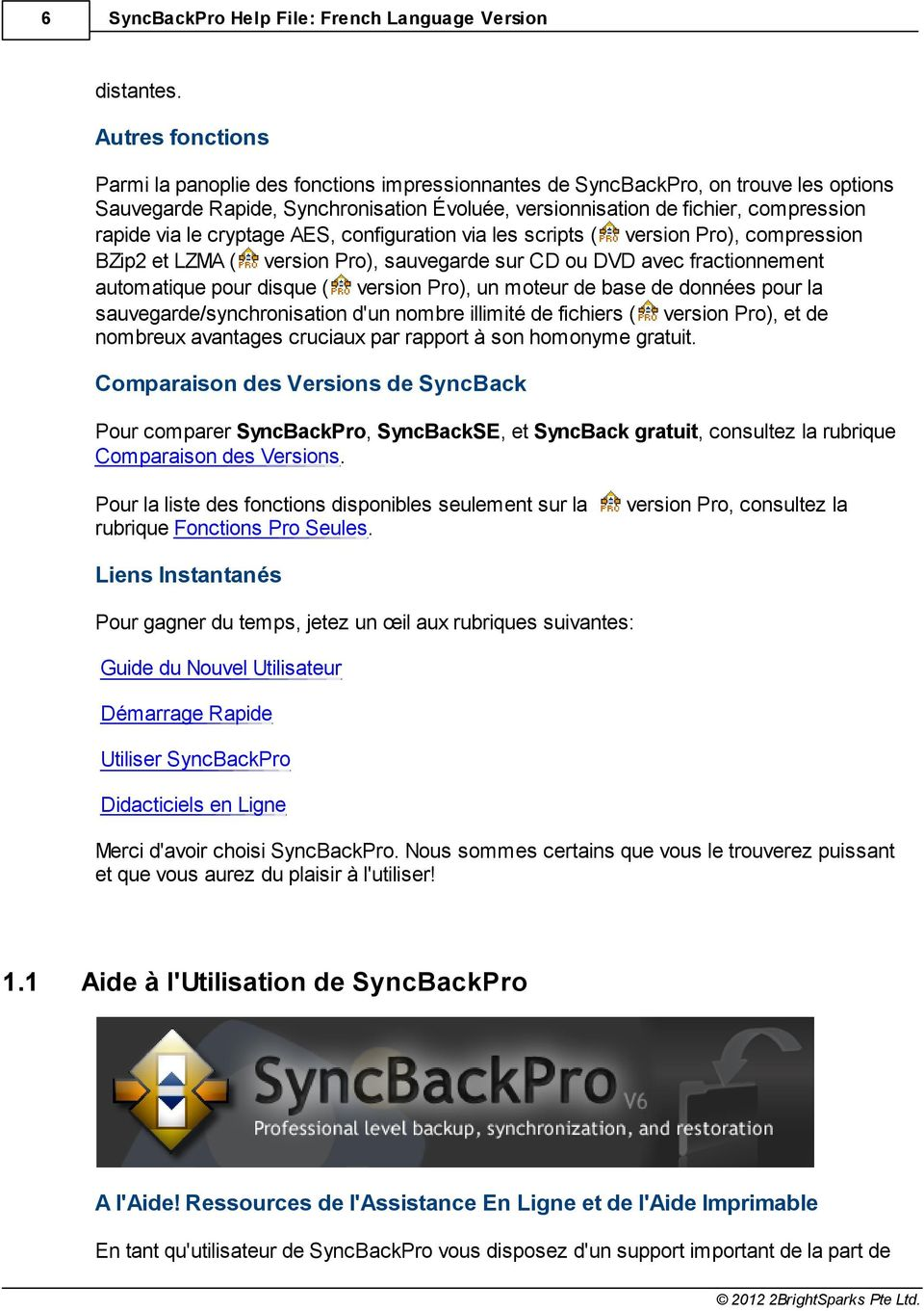 le cryptage AES, configuration via les scripts ( version Pro), compression BZip2 et LZMA ( version Pro), sauvegarde sur CD ou DVD avec fractionnement automatique pour disque ( version Pro), un moteur