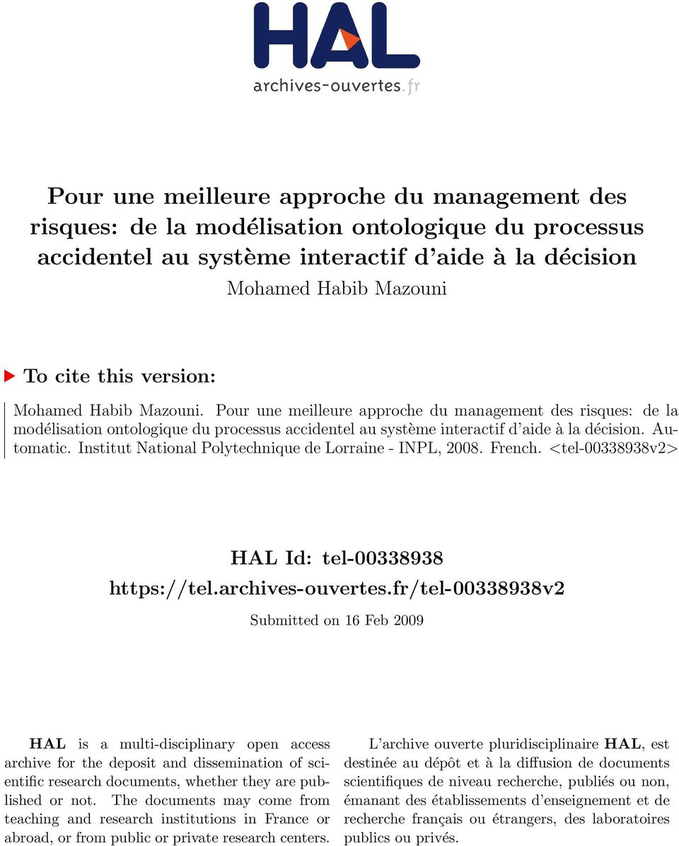 Institut National Polytechnique de Lorraine - INPL, 2008. French. <tel-00338938v2> HAL Id: tel-00338938 https://tel.archives-ouvertes.