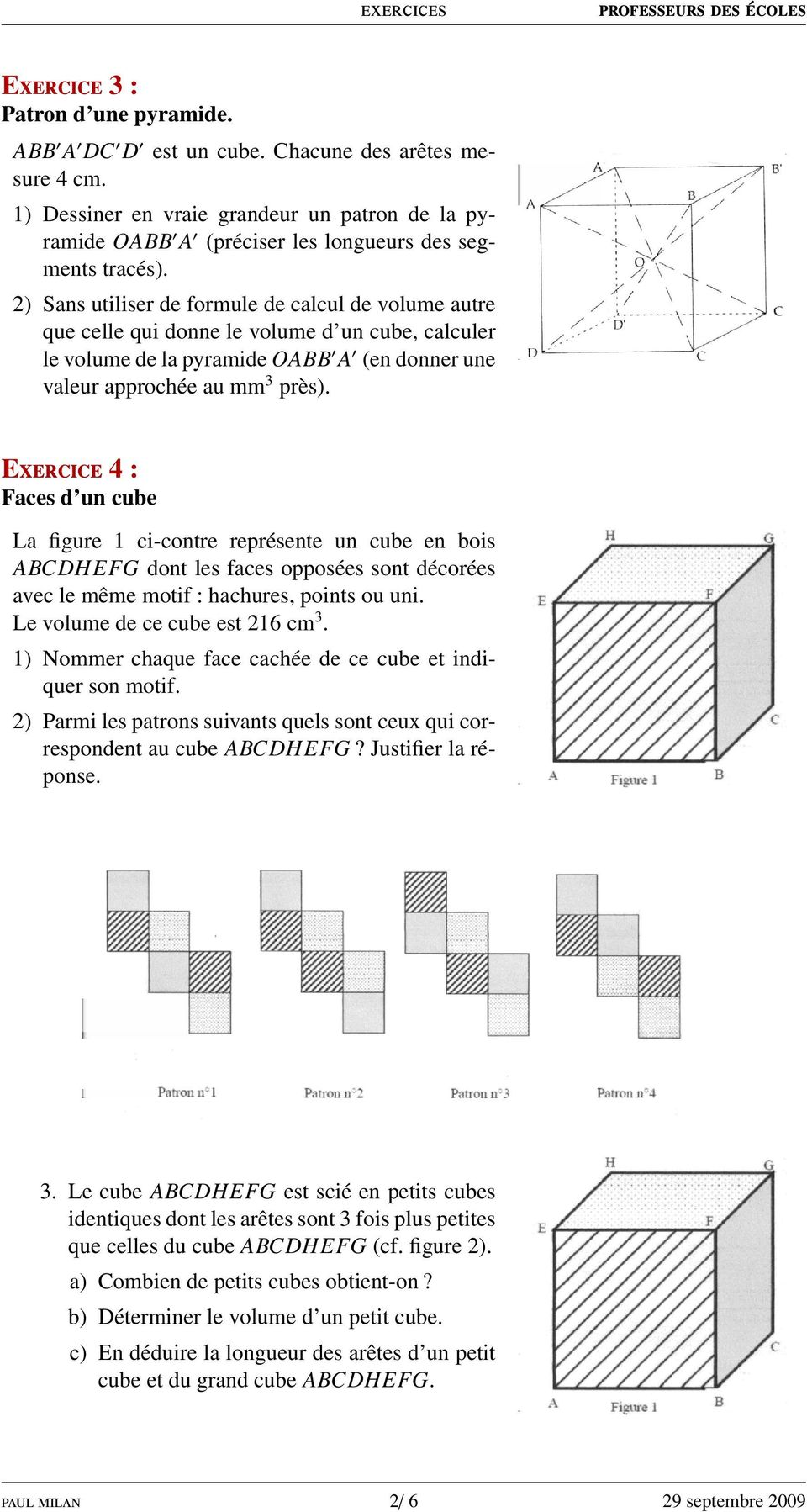 Solides et patrons cours pdf for Calculer son volume de demenagement