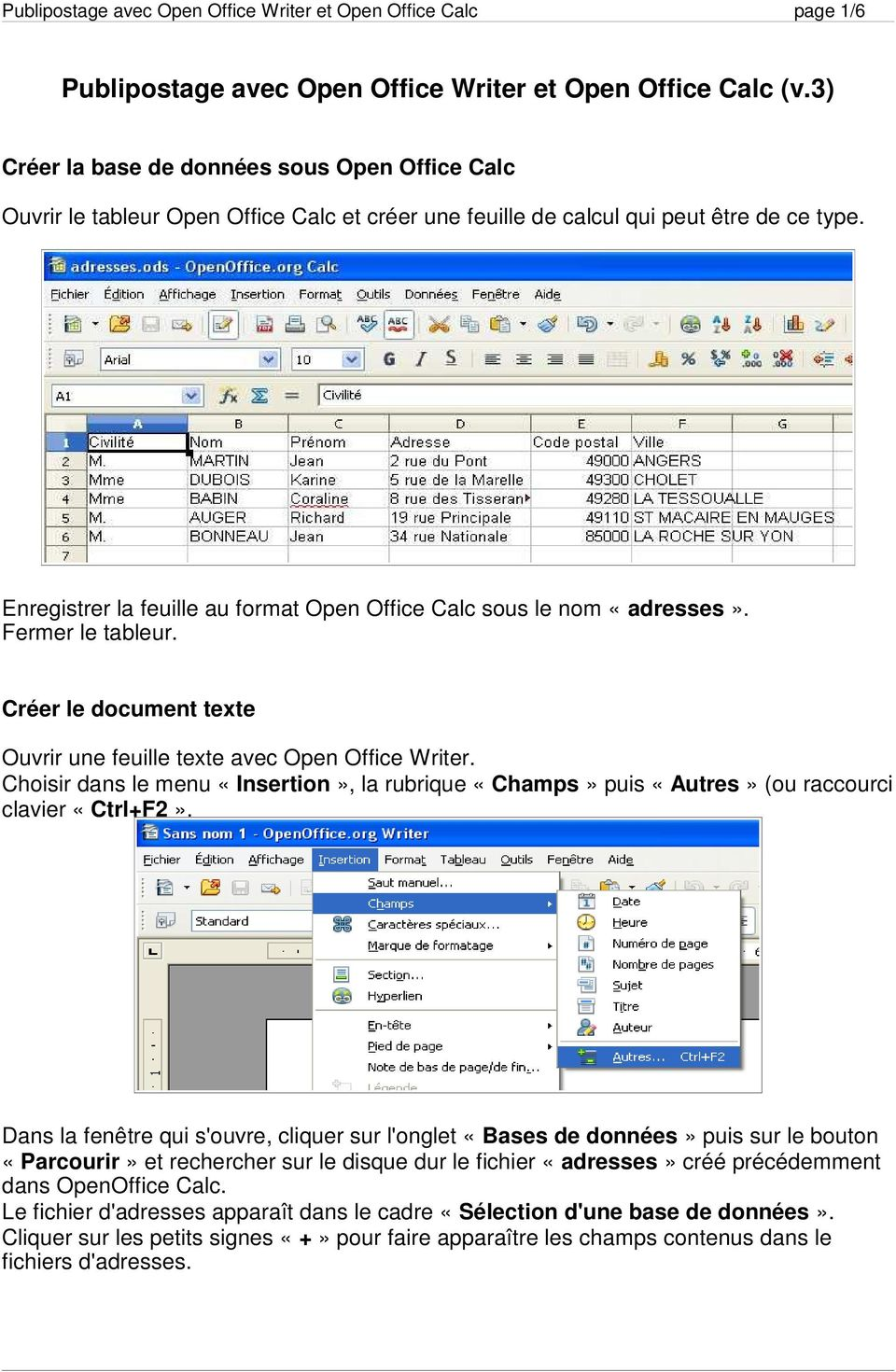 Publipostage avec open office writer et open office calc - Comment faire un publipostage sur open office ...