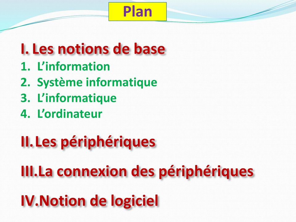 L informatique 4. L ordinateur II.
