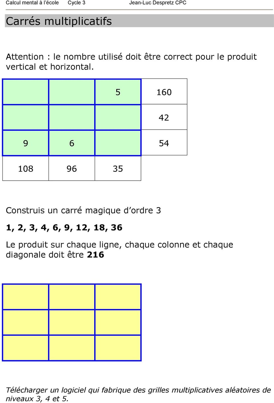 Activit s de calcul mental au cycle 3 pdf - Calcul diagonale carre ...