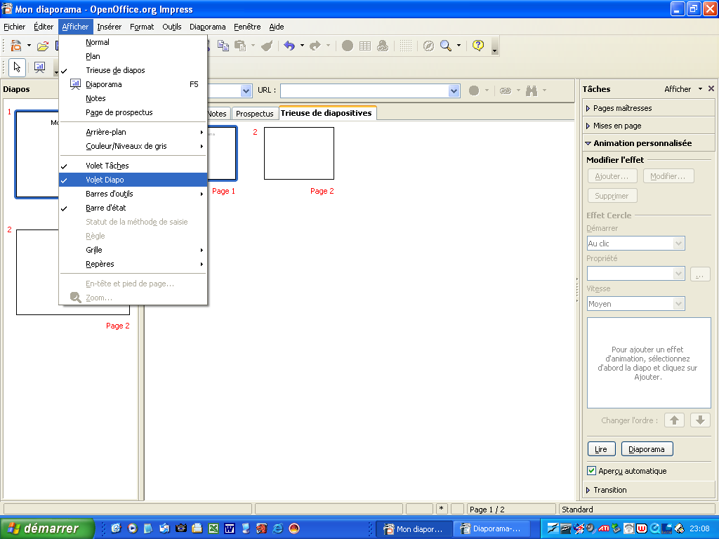 Creer un diaporama avec open office impress version 3 pdf - Faire un camembert sur open office ...