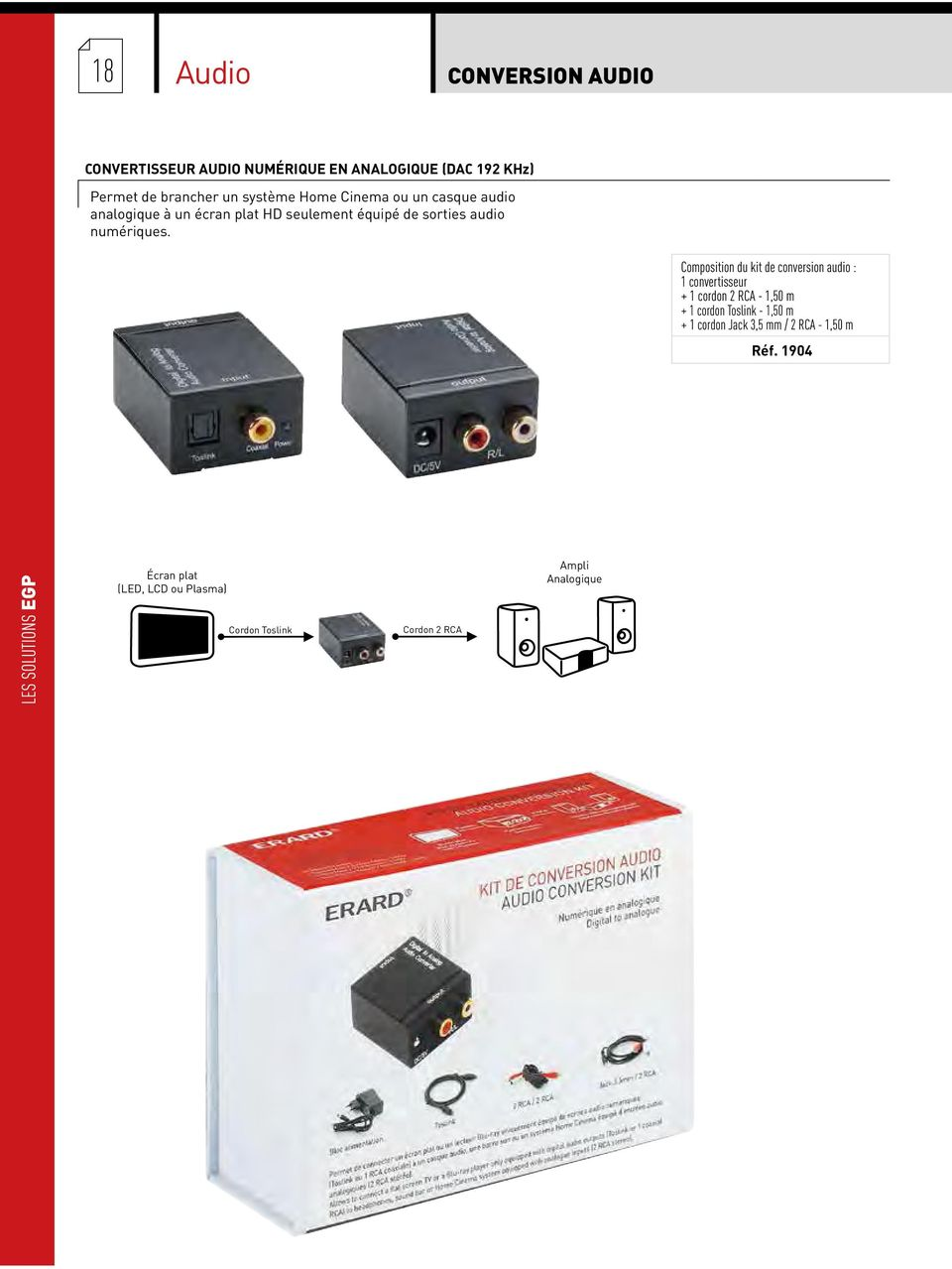 Composition du kit de conversion audio : 1 convertisseur + 1 cordon 2 RCA - 1,50 m + 1 cordon Toslink - 1,50 m + 1 cordon